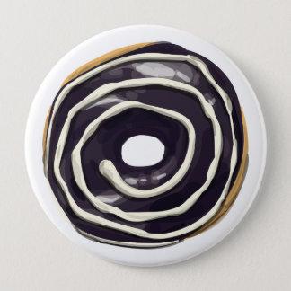Chocolate Dipped with Vanilla Swirl Doughnut. 10 Cm Round Badge