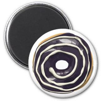 Chocolate Dipped with Vanilla Swirl Doughnut. 6 Cm Round Magnet