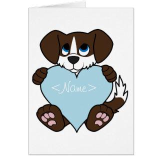 Chocolate Dog with Blaze & Light Blue Heart Greeting Card