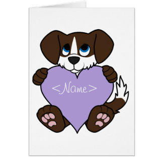 Chocolate Dog with Blaze & Light Purple Heart Greeting Card
