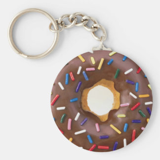 CHOCOLATE DONUT BASIC ROUND BUTTON KEY RING