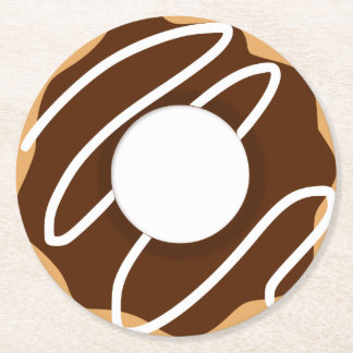 Chocolate Donut Round Paper Coaster