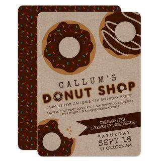 Chocolate Donut Shop Birthday Party Card