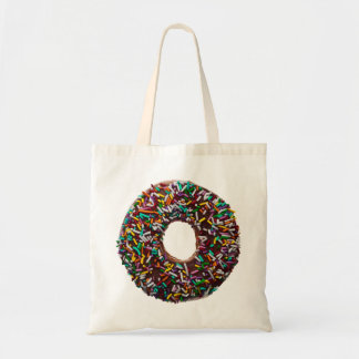Chocolate Donut with colorful sprinkles Budget Tote Bag