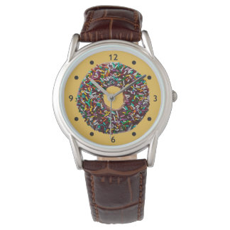Chocolate Donut with colorful sprinkles Wristwatches