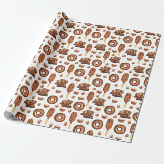 Chocolate Donuts Candy Bars Luxury Wrapping Paper