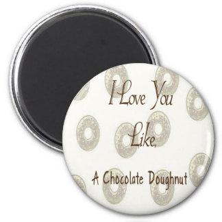 Chocolate Doughnut 6 Cm Round Magnet