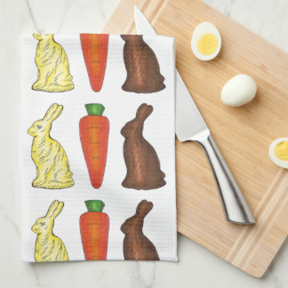 Chocolate Easter Bunny Rabbit Carrot Candy Towel
