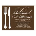 CHOCOLATE FLATWARE | REHEARSAL DINNER INVITE POSTCARD