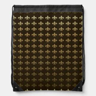 Chocolate Fleur de lis Drawstring Bag