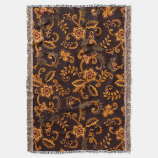 Chocolate Floral Throw Blanket