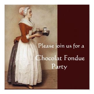 CHOCOLATE FONDUE DINNER PARTY 13 CM X 13 CM SQUARE INVITATION CARD