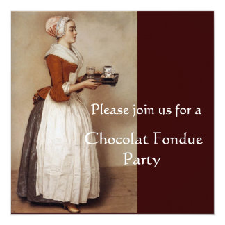 CHOCOLATE FONDUE DINNER PARTY 13 CM X 13 CM SQUARE INVITATION CARD