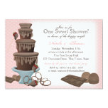 Chocolate Fountain Bridal Shower Pink 13 Cm X 18 Cm Invitation Card