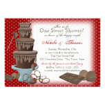 Chocolate Fountain Bridal Shower Red Invitation