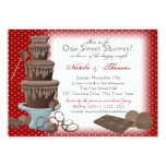 Chocolate Fountain Bridal Shower Red 13 Cm X 18 Cm Invitation Card