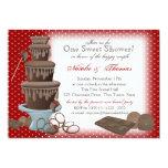 Chocolate Fountain Bridal Shower Red 13 Cm X 18 Cm Invitation Card
