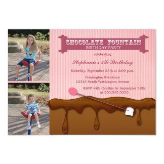 Chocolate fountain girls birthday party invite