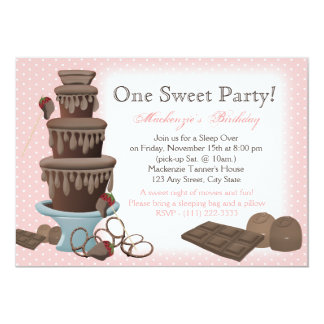 Chocolate Fountain Movie Sleepover Card