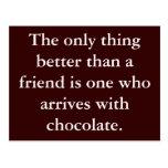 Chocolate Friendship Postcard Motivation