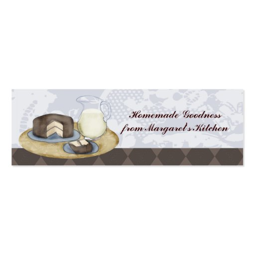 Chocolate frosted cake slice milk baking gift tags business card