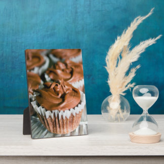 Chocolate Frosted Cupcakes on a Plate Photo Plaque