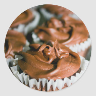 Chocolate Frosted Cupcakes on a Plate Photo Round Sticker