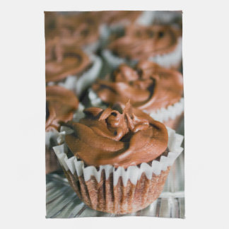 Chocolate Frosted Cupcakes on a Plate Photo Tea Towel