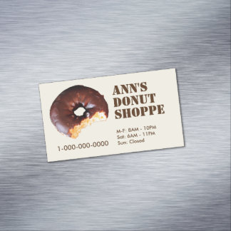 Chocolate Frosted Yellow Cake Donut Customizable Magnetic Business Card