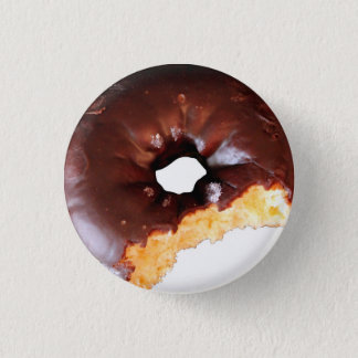 Chocolate Frosted Yellow Cake Donut with Bite Out 3 Cm Round Badge
