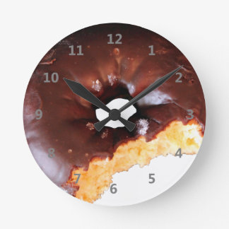 Chocolate Frosted Yellow Cake Donut with Bite Out Clock