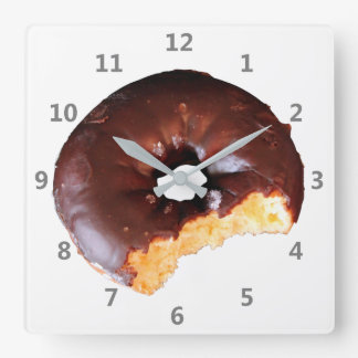Chocolate Frosted Yellow Cake Donut with Bite Out Square Wall Clock