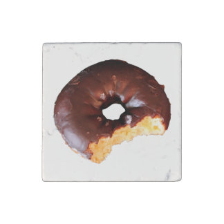 Chocolate Frosted Yellow Cake Donut with Bite Out Stone Magnet