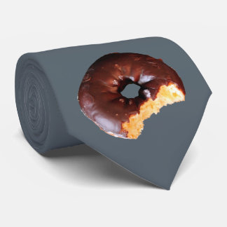 Chocolate Frosted Yellow Cake Donut with Bite Out Tie