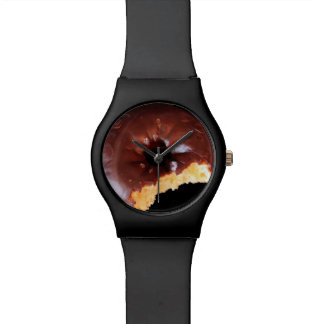 Chocolate Frosted Yellow Cake Donut with Bite Out Wrist Watch