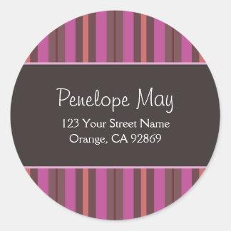 Chocolate, Fuschia & Salmon Striped Address Labels