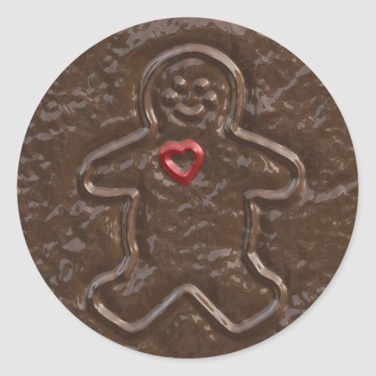 Chocolate Gingerbread Man and Heart Cookie Sticker