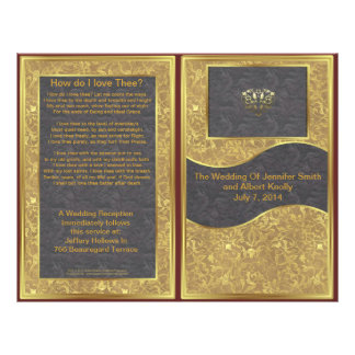 Chocolate Gold Deluxe Wedding Program 21.5 Cm X 28 Cm Flyer
