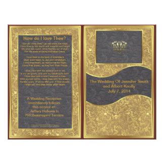 Chocolate Gold Deluxe Wedding Program Flyers
