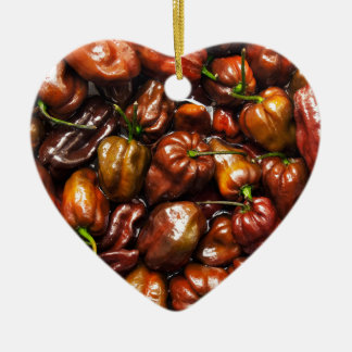 Chocolate Habanero Ceramic Heart Decoration