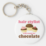 Chocolate Hair Stylist Occupation Gift Basic Round Button Key Ring