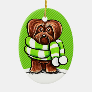 Chocolate Havanese Winter Scarf Christmas Ornament