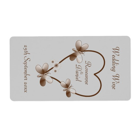 Chocolate Heart And Butterflies Mini Wine Label Shipping Label