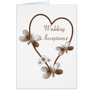 Chocolate Heart And Butterflies Wedding Acceptance Greeting Card