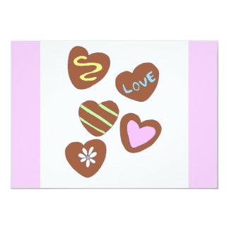 Chocolate Hearts 13 Cm X 18 Cm Invitation Card