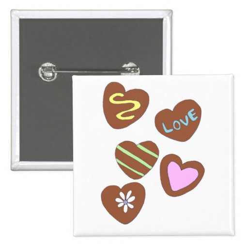 Chocolate Hearts Pinback Buttons