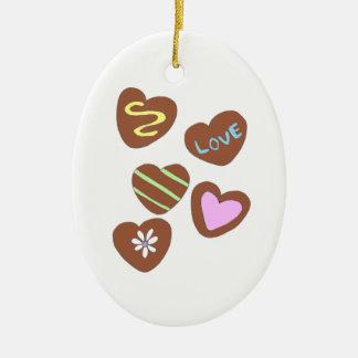 Chocolate Hearts Ceramic Oval Decoration