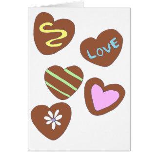 Chocolate Hearts Greeting Card