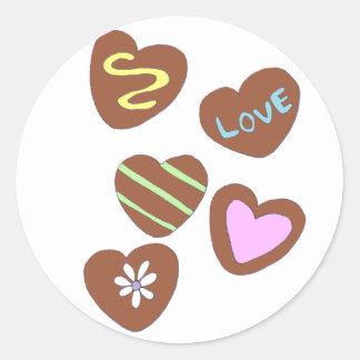 Chocolate Hearts Round Sticker