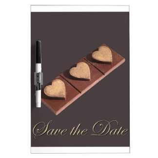 Chocolate Hearts Save the Date Dry-Erase Whiteboards